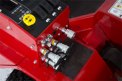 Front Hydraulic Aux Kit Connectors - Optional kit that adds two more hydraulic ports to allow for more functions for certain attachments on the front of the Ventrac.