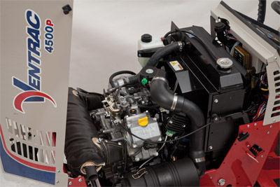 Ventrac 4500P Engine Compartment - The 4500P is powered by the 31 HP Kawasaki FD851D DFI Gas Engine