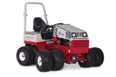 Ventrac 4500Z AWD articulating compact utility tractor right profile - Shown with optional dual wheels, suspension seat, and arm rests.
