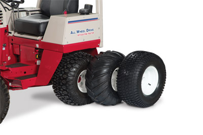 Ventrac 4500 Tire Options - The 4500 has other tire types in addition to the standard all-terrain tire to better suit your particular needs including the old style bar tire, great for gardening, and the low impact turf tire for use on golf courses and the like.