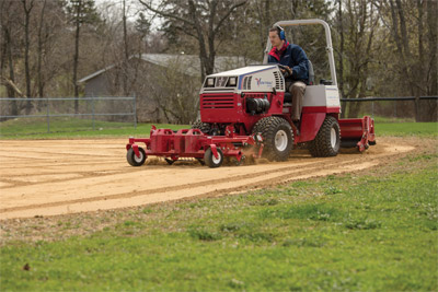Ballpark Renovator & Groomer hard at work - Ventrac helps you turn a old field into an infield with the Ballpark Renovator and Groomer.