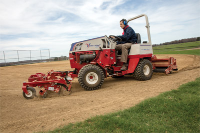 Ventrac Ballpark Renovator & Groomer in action