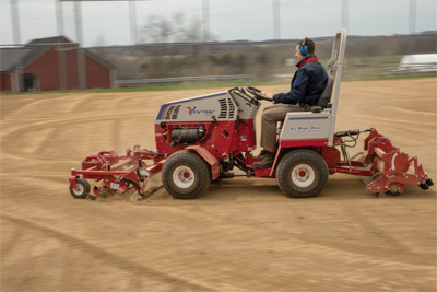 The Ballpark Renovator & Groomer on the Ventrac 4500