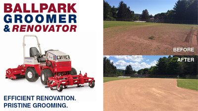 Ventrac Ballpark Before & After Image - Efficient renovation. Pristine grooming