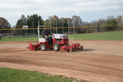 Ventrac Ballpark Renovator and Groomer on a 4500 - Save a lot of time renovating and grooming your infield with a Ventrac 4500.