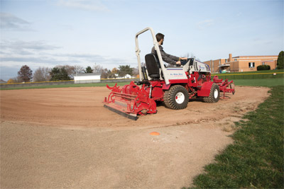 Ventrac 4500 with Renovator and Groomer - Each pass of the 4500 with the Ballpark Renovator and Groomer leaves behind a game day ready infield.