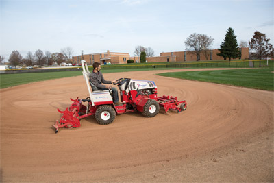 Ballpark Renovator & Groomer on Articulating 4500 - The Ventrac 4500 articulation allows for tighter control of the renovator and groomer for precise infield grooming.