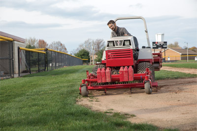 Ventrac Ballpark Renovator Cutting Edge - Hard to tell where the infield ends and the outfield begins? The Renovator literally has a cutting edge capability that helps you shape the diamond.