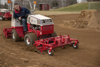 The Ventrac 4500 with Renovator & Groomer on the level - Ventrac levels the playing field with the Ballpark Renovator and Groomer mixing in drying agents, sand, clay, and more in the process.