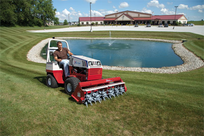 <strong>Ventrac 4500Z AWD tractor with Aero-Vator</strong> - Aerate lawns without damaging the turf even on hills and slopes.