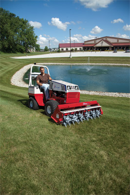 Ventrac 4500Z compact utility tractor with Aero-Vator - The Aero-Vator works with uneven turf and doesn't tear up lawns in the process.