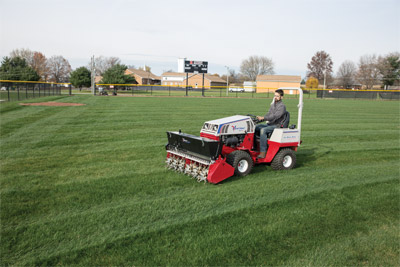 Ventrac Aera-Vator hard at work - No tearing up turf, no plugs to litter the grass, no gaps in coverage. The Aera-Vator delivers beautiful results every time.