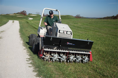 Ventrac 4500 with Aera-Vator and optional Seeder - Aerate and seed your lawn all at once with the Aera-Vator with top-mounted seeder.