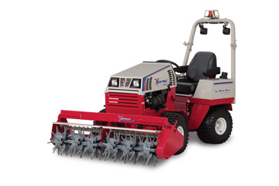 Ventrac 4500 with Aera-Vator - Shown with optional mounted LED lights and safety strobe light