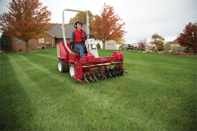 Ventrac 3400 lawn aerator - Easy aeration on hills and uneven ground