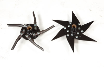 Tine Options - Choose between open spoon, core, and slitter tines. Pictured: Open Spoon (left), slitter (right)