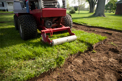 Sod Cutter Ground View - Remove sod up to two and half inches deep with the Ventrac Sod Cutter