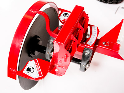 Closeup of the 20 inch Edger Disc - Edger features adjustable disc angle to increase/decrease width of cut edge.
