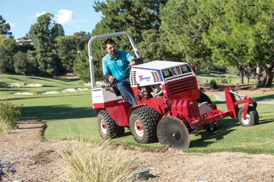 Ventrac 4500 using the 20 inch Edger - Golf course maintenance made much easier with the precise cut of the Ventrac Edger with adjustable depth and optional added weights.