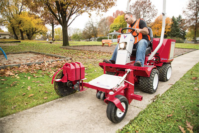 Ventrac 3400 with Sidewalk Edger - Easy to use, easy to see, easy to control, and additional weights allow for deeper and more consistent cut