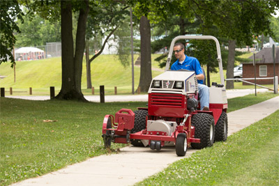 Ventrac 20 inch Edger with Blower on a 4500 - Optional blower removes dirt and debris as the cutting blade rolls along and the added weights help maintain down pressure for more even cut.