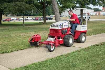 Ventrac 4500P and 20 - Optional weights can be added to the Edger to help maintain a more steady cut while cutting.