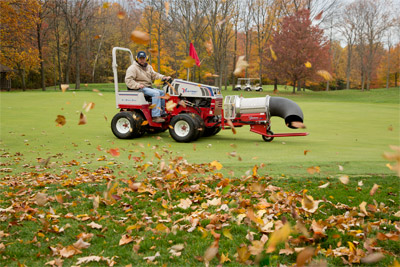 Ventrac 4500P with Turbine Blower - Golf course maintenance made easy with the Ventrac 4500, shown with optional dual wheels, and Turbine Blower.