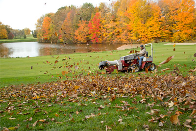 Turbine Blower Clearing Leaves - The Ventrac 4500 using the Turbine Blower clears leaves fast and efficient thanks to adjustable direction and wind speeds of 170 mph.