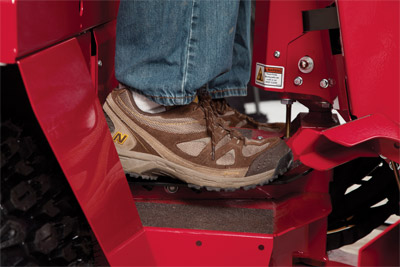 Foot Control for 4500 in use - Foot control pedal for the Ventrac 4500