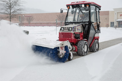 Ventrac 4500 Blasts Snow Away with Power Broom - Able to rotate in either direction, the Power Broom can also be angled either way for maximum effectiveness.