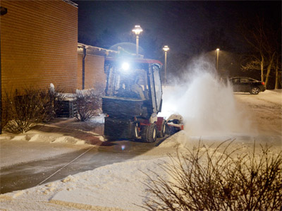 Ventrac Power Broom on Sidewalks - Reduce the risk of Slip & Fall lawsuits at Hospitals, Schools, Municipalities, and other sites with the Ventrac Power Broom and salt spreader.