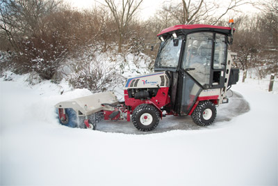 Ventrac 4500Z articulating tractor with Power Broom - The Power Broom makes light work of snow removal