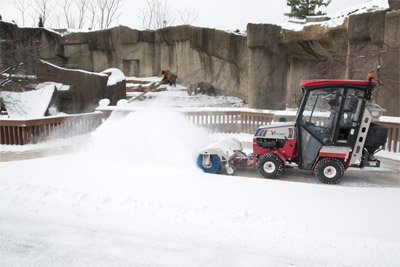 Ventrac 4500Z AWD tractor - All wheel drive maximizes traction for safe and stable operation in all kinds of weather conditions.