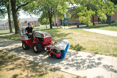 Ventrac 4500Z with Power Broom - Keep sidewalks and pathways clear year-round with the power broom.