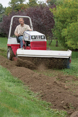 Ventrac 4500Z using Power Broom for Lawn Cleanup - Help fill in ditches easier with the Power Broom for more complete material replacement than a blade.