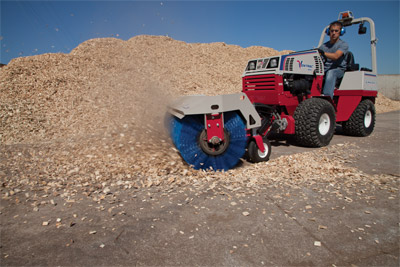 Ventrac 4500Y articulating tractor with Power Broom - Quickly move small debris such as mulch or small stones with the power broom