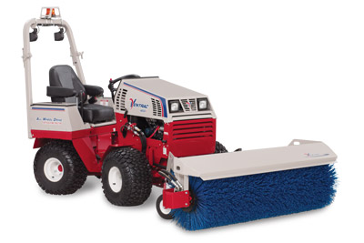 Ventrac 4500Y with Power Broom - Shown here with optional LED mounted lights and safety strobe light