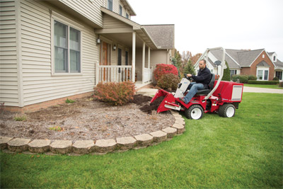 Power Bucket for Ventrac 3400 - Ventrac power bucket with the 3400 is maneuverable enough to let you put mulch where you want it