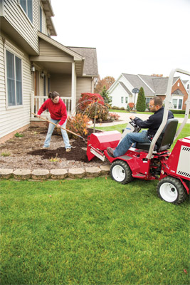 Ventrac 3400 power bucket - Over three and a half cubic feet of bucket capacity makes moving whatever you need easier.