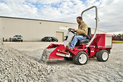 Ventrac 3400 with power bucket - Easy debris removal that maintains your field of vision allowing better precision and less guesswork