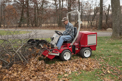 Power Bucket with optional Grapple on a Ventrac - Brush, compost, leaves, and waste materials can all be handled using the Power Bucket and Grapple for the Ventrac.