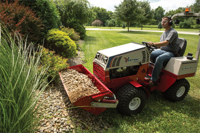 The Power Bucket on a Ventrac 4500 - The Power Bucket's large capacity means fewer trips and time saved.