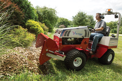 Ventrac 4500 using the Power Bucket - Home owners find more uses for their Power Bucket around their property than they initially believe.
