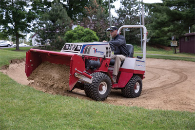 Ventrac 4500P Using Power Bucket on Golf Course - Even if you aren't maintaining a professional golf course the Ventrac is still an efficient and versatile machine.
