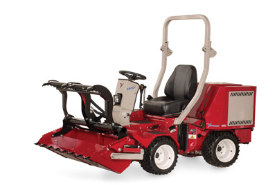 Ventrac 3400 with Power Bucket and Grapple fully extended - Shown with optional Grapple