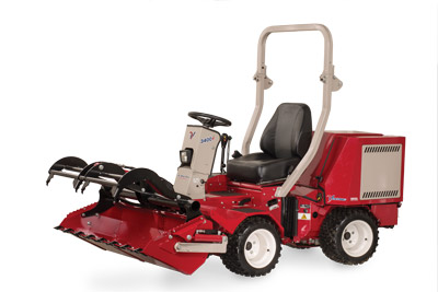 Ventrac 3400 with Power Bucket and Grapple lifted halfway - Shown with optional Grapple