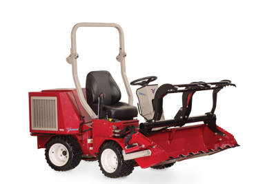 Ventrac 3400 with Power Bucket and Grapple raised fully extended - Shown with optional Grapple and Cutting Teeth.