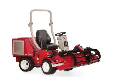 Ventrac 3400 with Power Bucket and grapple closed - HE482 Power Bucket with optional Grapple