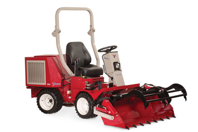 Ventrac 3400 with Power Bucket and Grapple extended right view - Shown with optional Grapple and Cutting Teeth.