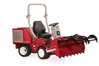 Ventrac 3400 with Power Bucket and Grapple dumped and extended - Shown with optional Grapple and Cutting Teeth.